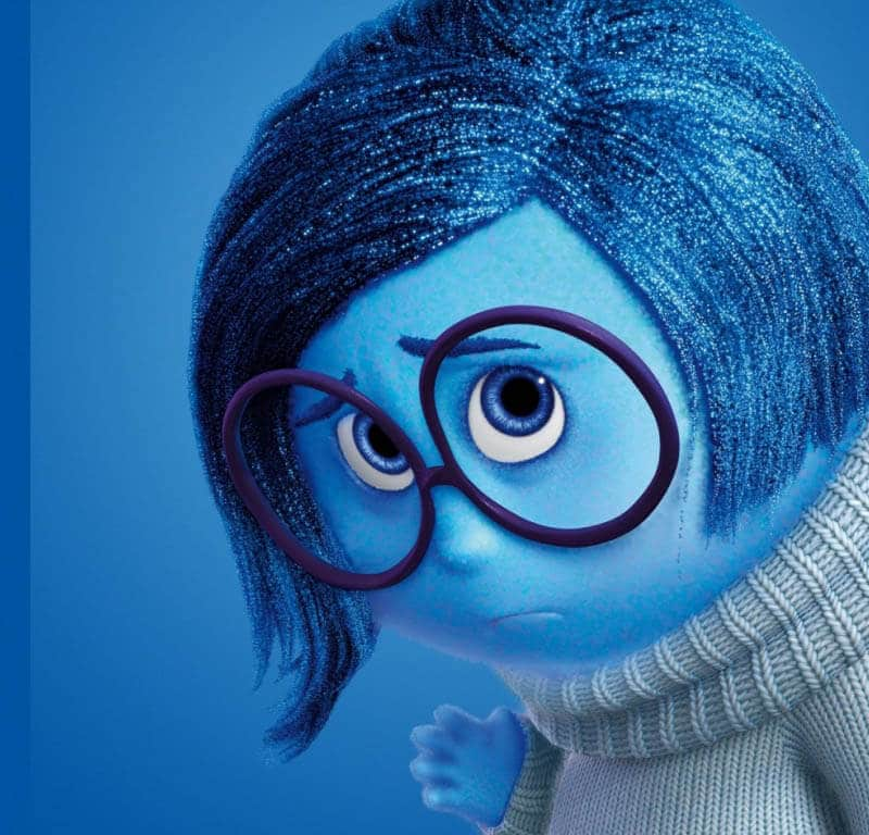 bambino interiore IL BAMBINO INTERIORE Inside Out 2015 Sadness Blue Sad Emotion Girl With Glasses WallpapersByte com 1366x768